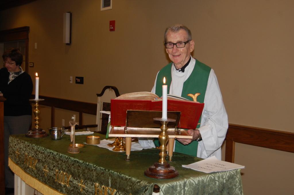 Fr. Brady prepares for the 4 o'clock vigil mass at Fox Run in OP