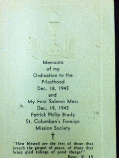 Actual card for Fr. Brady's Ordination to the priesthood.