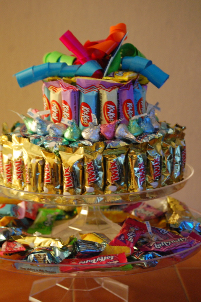 The finished candy cake. Lots of fun and easy to make.