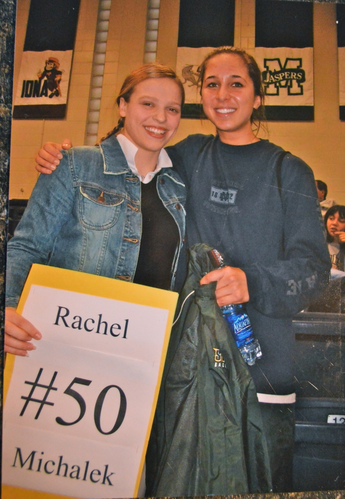 When Natalie was in High School she would go to Rachies  basketball games when Siena played against Canisius. Of course Natalie made a sign!!