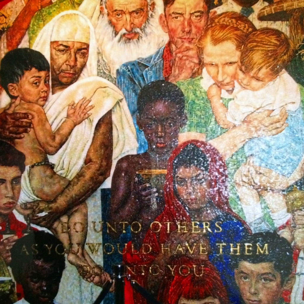 Inside the United Nations building, Natalie took a picture of the mosaic of the Golden Rule.